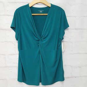Charter Club Twist Front Teal Short Sleeve Top 2X